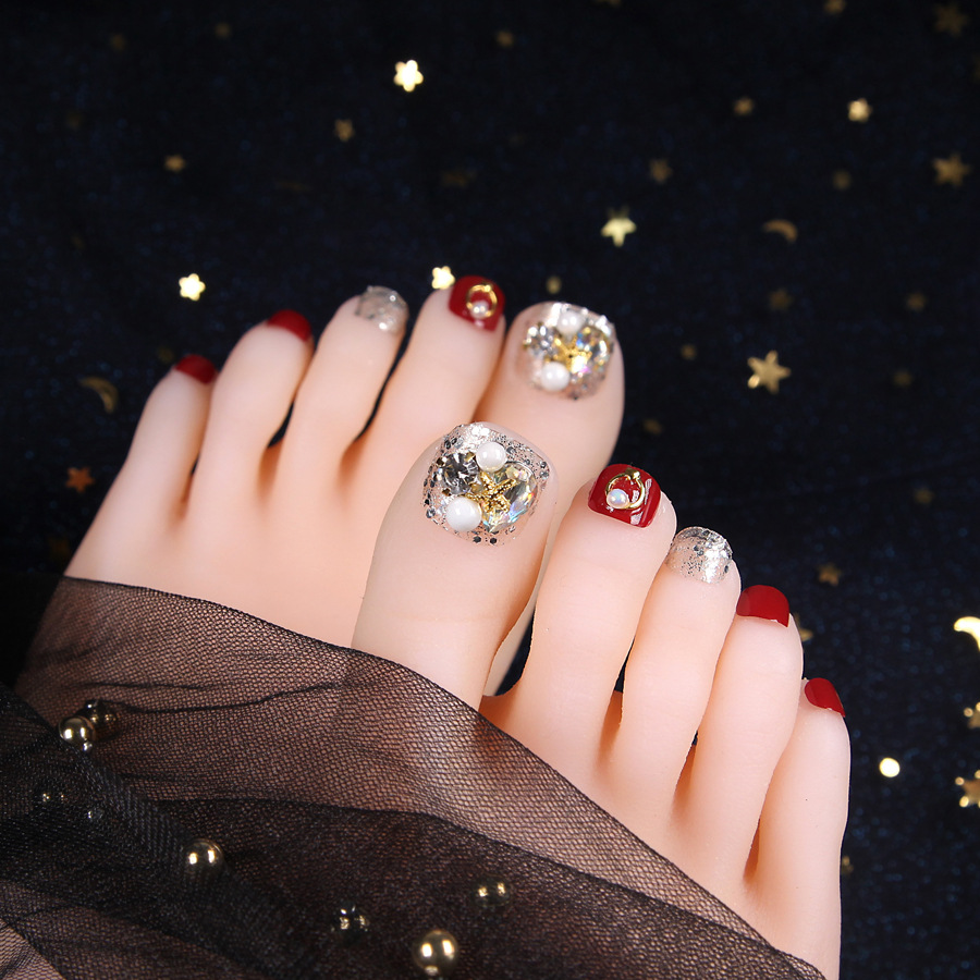 Prosthetic Foot Nail Patch Red Manicure Finished Product Wearable Disassembly Douyin-with Diamond Summer Toenails Stickers Nail