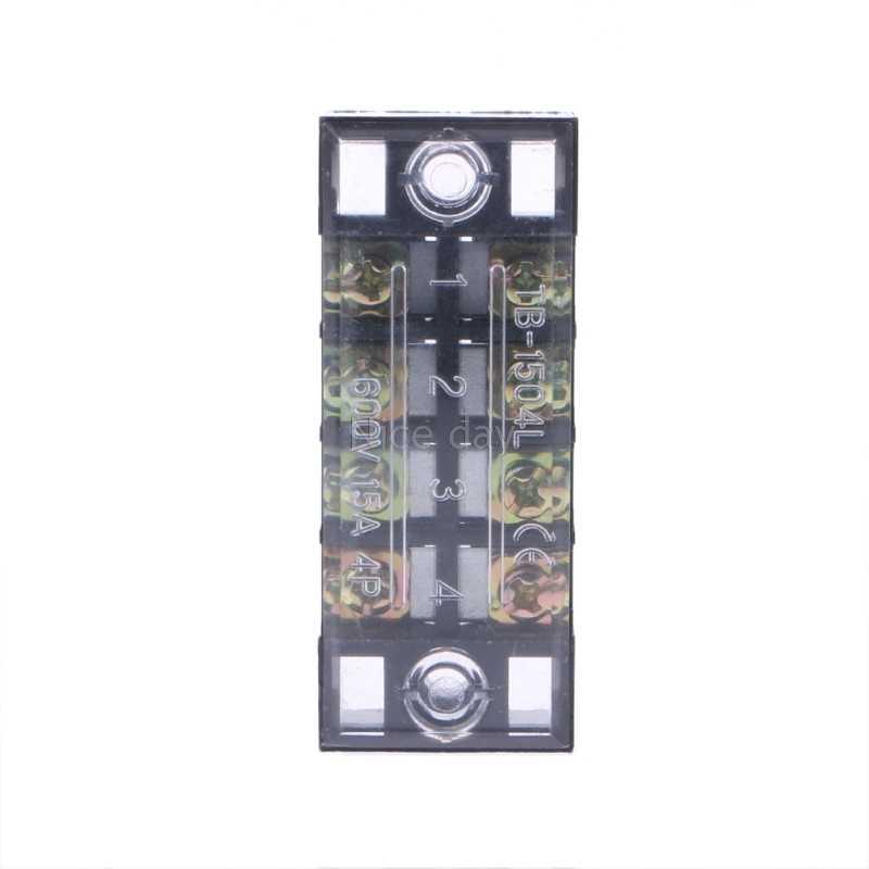 600V 15A 4 Posisi Dual Rows Tertutup Barrier Sekrup Terminal Blok Strip F16 20 Dropship