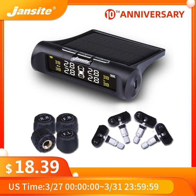 Jansite умная Автомобильная TPMS система контроля давления в шинах Солнечная энергия цифровой ЖК-дисплей Авто Охранная сигнализация системы дав...