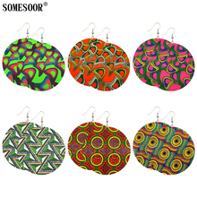SOMESOOR Mixed 6 Package Wholesale African Fabrics Pattern Round Pendants Both Sides Printing Cute Earrings For Women