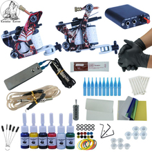 Complete Tattoo Kits 2 Coils Guns Machine Set 6 Colors Black Tattoo Pigment Sets Power Supply Needle Beginner Permanent Makeup complete tattoo kits 8 wrap coils guns machine 1 6oz black tattoo ink sets power supply disposable needle free shipping