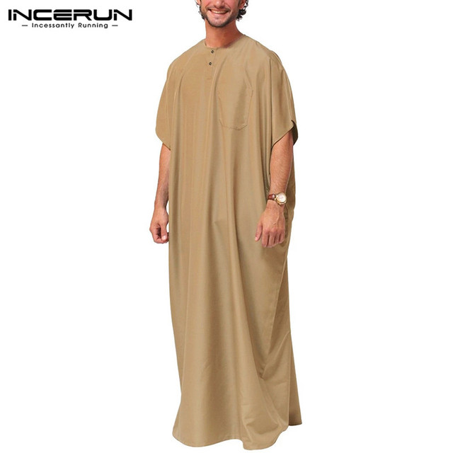 INCERUN Jubba Thobe Men Islamic Arabic Kaftan Solid Short Sleeve Loose Retro Robes Abaya Middle East Muslim Clothing Plus Size 7 2