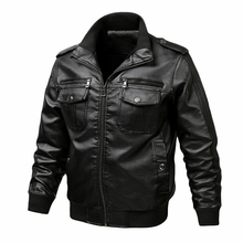 Mens Leather Jacket Men's Spring Autumn Casual Slim fit Motorcycle PU Leather