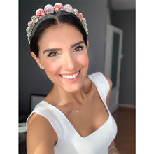 ncmama 2019 Pearls Hairband for Girls Elegant Headband Women Headwear Colorful Beads Hair Hoop Bezel Accessories