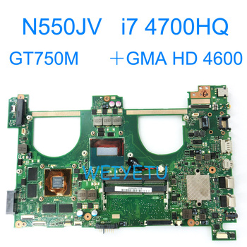k43sv motherboard gt520m 1gb rev 4 1 for asus a43s x43s k43sv k43sj laptop motherboard k43sv mainboard k43sv motherboard N550JV With i7-4700HQ GT750M/2GB Motherboard For Asus N550 N550JK G550JK Q550J  N550J N550JX Laptop Mainboard REV 2.0
