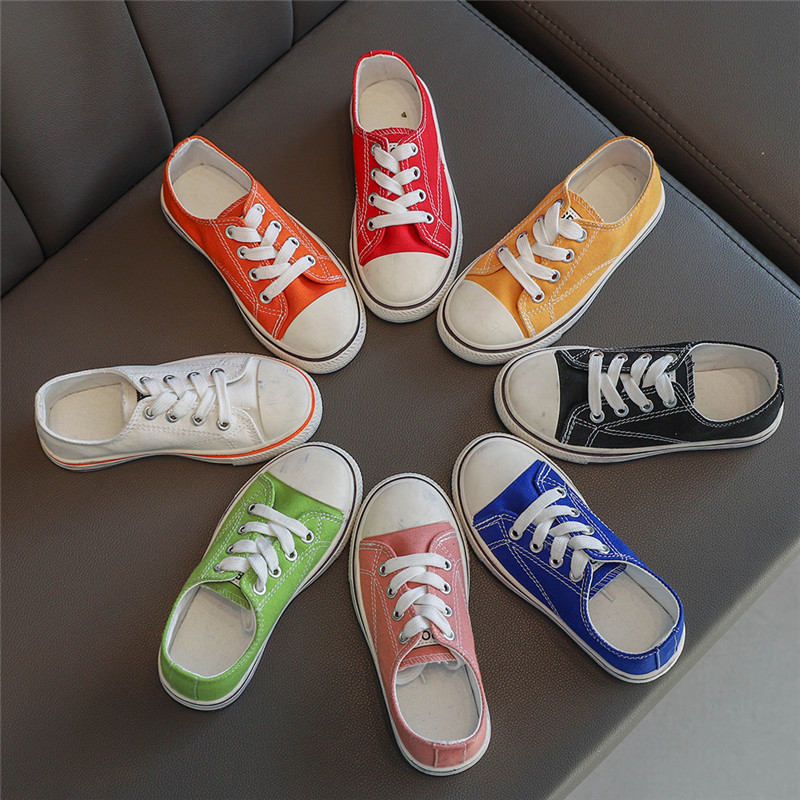Kids Sport Shoes Spring New Boys Canvas Shoes Fashion Solid Color Baby Girl Sneakers Children Girls Infant Student Shoes SZ198