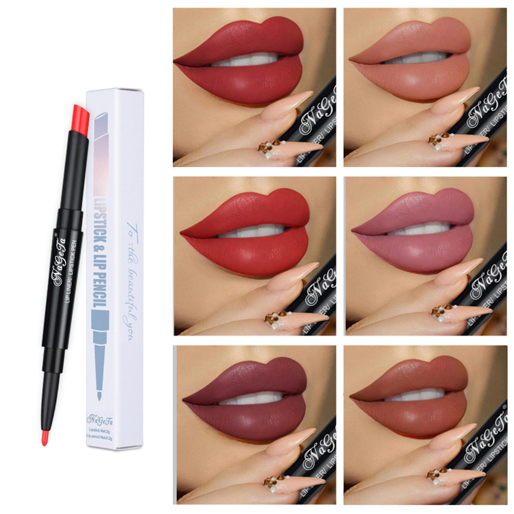 Brand 12 Colors 2 In 1 Matte Lipstick Pencil Lipiner Waterproof Long Lasting Tint Sexy Red Lip Stick Contour Make-Up TSLM2 image
