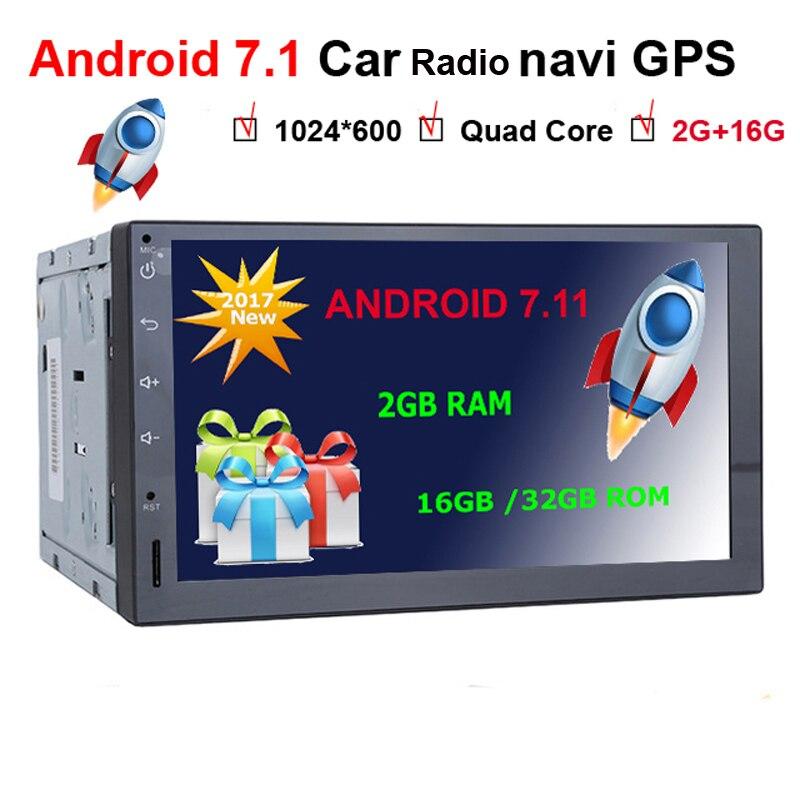 Dernière 2gb + 16gb Android 7.11 sucette universel 7 pouces autoradio Auto Audio stéréo unité de tête Double 2 Din voiture GPS Navigation