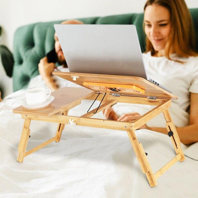 Business Office Furniture Laptop Desk Bamboo Adjustable Laptop Desk