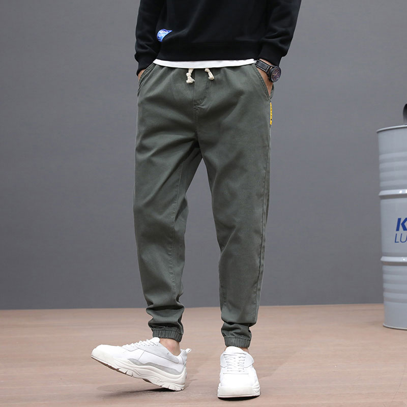 Japanese Fashion Men Jeans Green Khaki Gray Black Loose Fit Casual Cargo Pants Slack Bottom Hip Hop Jeans Men Joggers Pants
