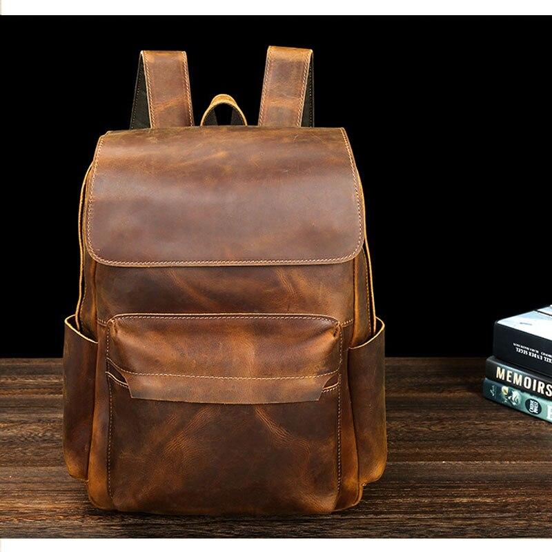 Nouveau 2019 sac à dos d'épaule homme ordinateur cartable homme sac à dos pour ordinateur portable bookbag Vintage cire imperméable toile sac en cuir PU
