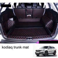 Lsrtw2017 Leather Car Trunk Mat Cargo Liner for Skoda Kodiaq 2017 2018 2019 2020 boot Carpet Interior Accessories covers