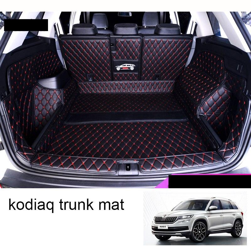 Lsrtw2017 tapis de coffre de voiture en cuir doublure de cargaison pour Skoda Kodiaq 2017 2018 2019 2020 tapis de démarrage accessoires d'intérieur couvertures