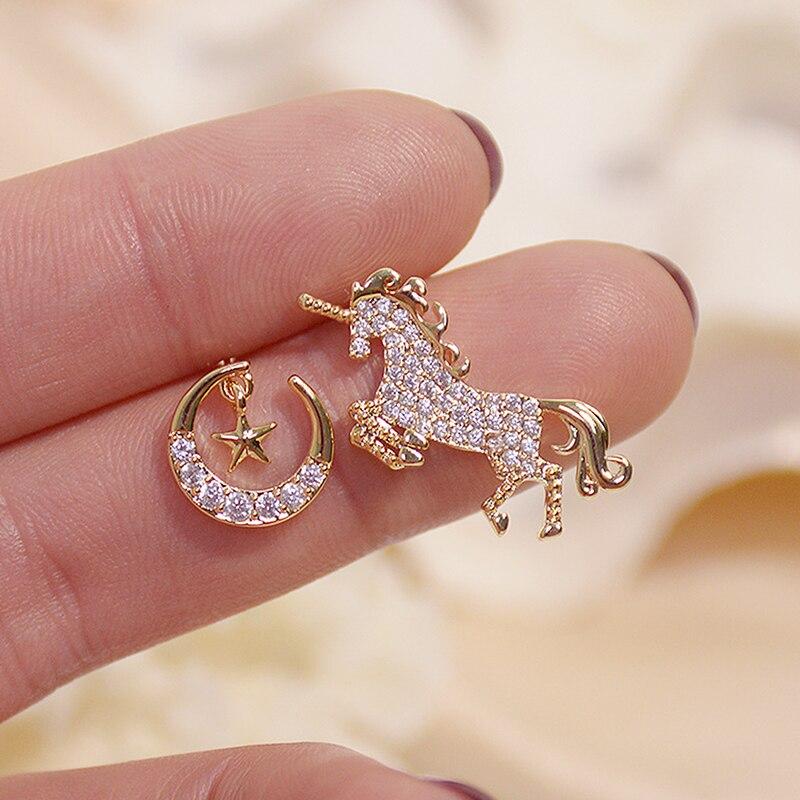 Korean Fasion Creative Asymmetry Unicorn Women Earrings AAA Bling Zircon Moon Star Stud Earring Wedding Jewelry for Bridal