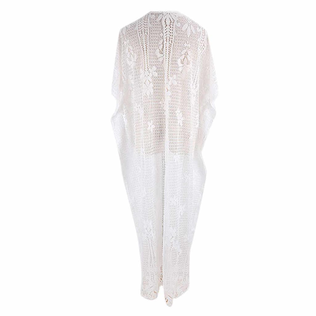 Kadınlar seksi V boyun Dolman kollu dantel kesik dekolte plaj elbise mayo Cover Up mayo mayo Beachwear yaz biquini