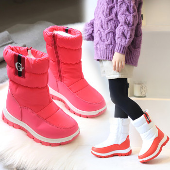 Children Snow Boots Baby Girls Boys Calf Boots Children Outdoor Warm Plush Shoes Fashion Pu Leather Platform Kids Snow Booties