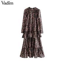 Vadim 女性エレガントなフリル花柄ドレス長袖 o ネックミディ女性のレトロな甘いドレス vestidos QC802