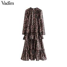 Vadim women elegant ruffled floral print dress long sleeve o neck midi dress female retro sweet dresses vestidos QC802