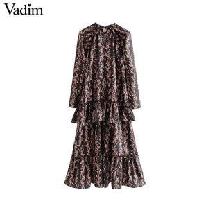 Image 1 - Vadim women elegant ruffled floral print dress long sleeve o neck midi dress female retro sweet dresses vestidos QC802