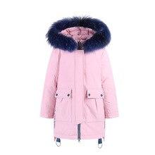 Fashion Winter Thicken Warm White Duck Down Child Coat Fur Collar Waterproof Girls Jackets Children Outerwear For 115-150cm