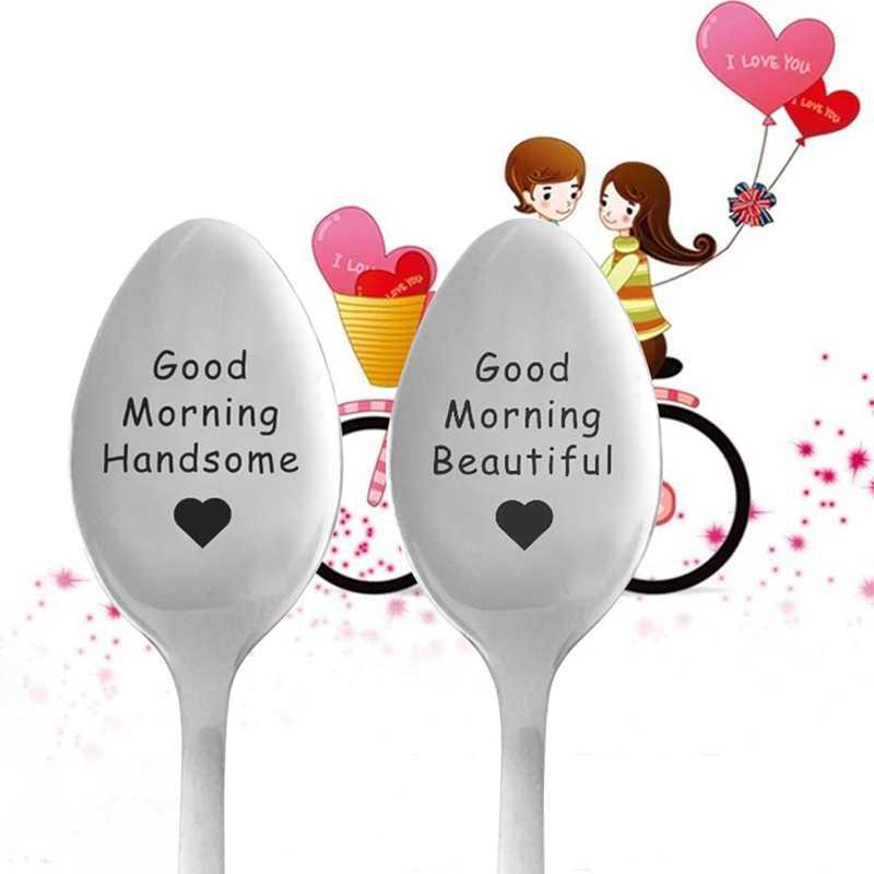 Kahve kaşığı çiftler paslanmaz çelik çay kaşığı yakışıklı mektup kaşık sevgililer günü düğün moda sağlıklı hediye hediyeler