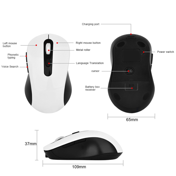 kebyy AI Voice Control Mouse Wireless Rechargeable Novelty Input Search Translation