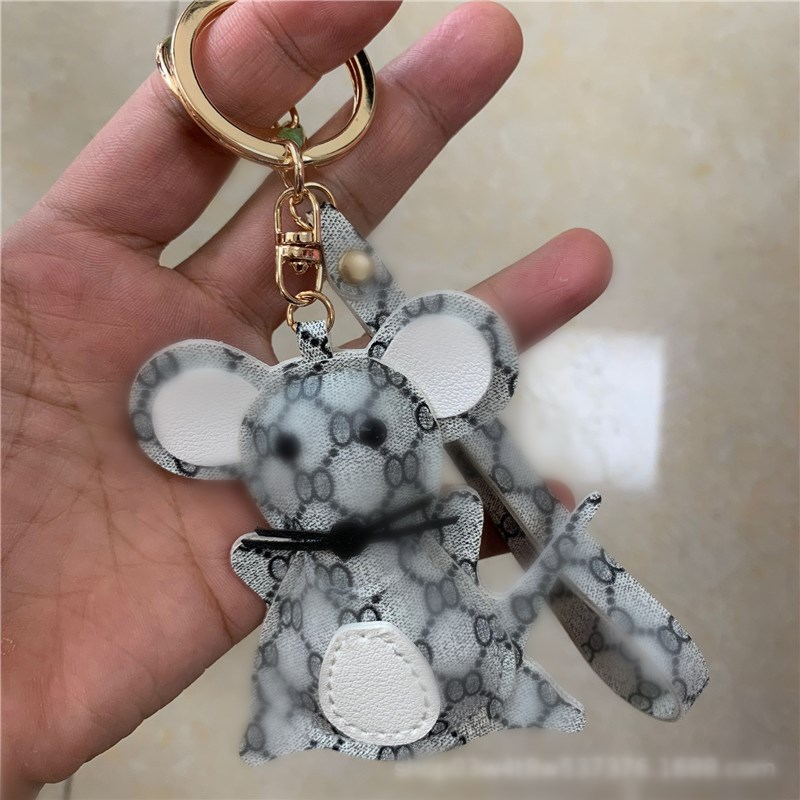 2020 Mickey Mouse Keychain Leather Merry Christmas Decoration For Home Key Chain Women Keyrings Bag Charm New Year image