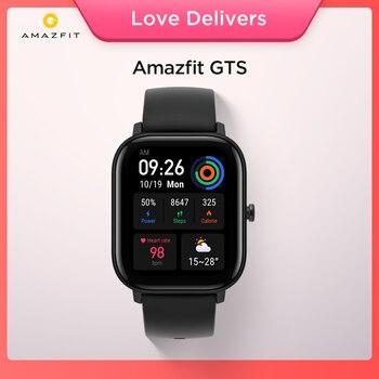 Relógio estoque versão global amazfit gts relógio inteligente 5atm impermeável natação smartwatch 14 dias bateria controle de música para android 1