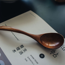 Long Handle Wooden Spoon Thick Quality Household Kitchen Utensils Soup Curved Natural Material