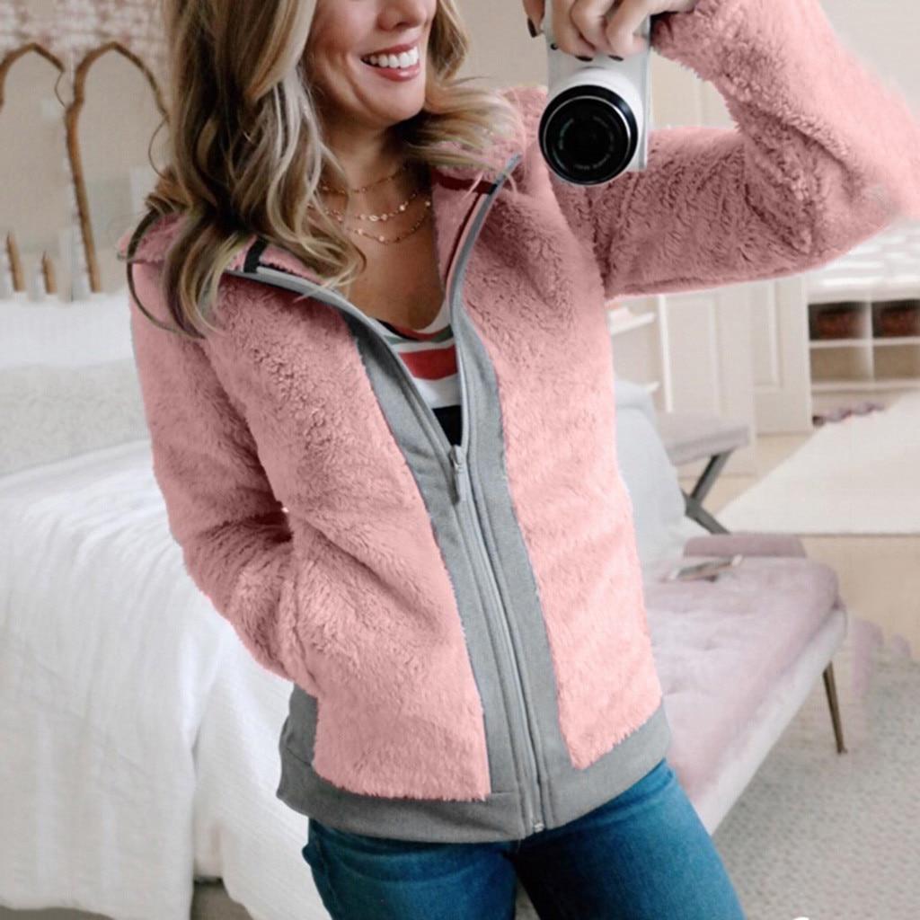 Women Pockets Zip Jacket Winter Warm Fleece With Open Front Outwear Coat Long Sleeves Feminino Coats Outwear Jacket Women 2020