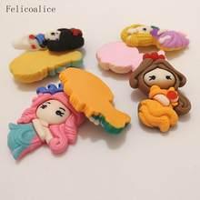 8 pçs dos desenhos animados princesa flatback resina cabochon kawaii flatback cabochons crianças arcos de cabelo acessórios diy enfeites decoração