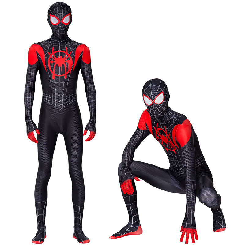 Adult Men Spider-Man Into the Spider-Verse Miles Morales Cosplay Costume Zentai Spiderman Pattern Bodysuit Suit Jumpsuits image