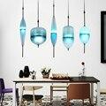 Nórdico Moderno Luz LED Art Deco Em Forma de Lágrima Pingente De Vidro Azul Branco Simples Lâmpada de Suspensão para Sala de estar Cozinha do Restaurante
