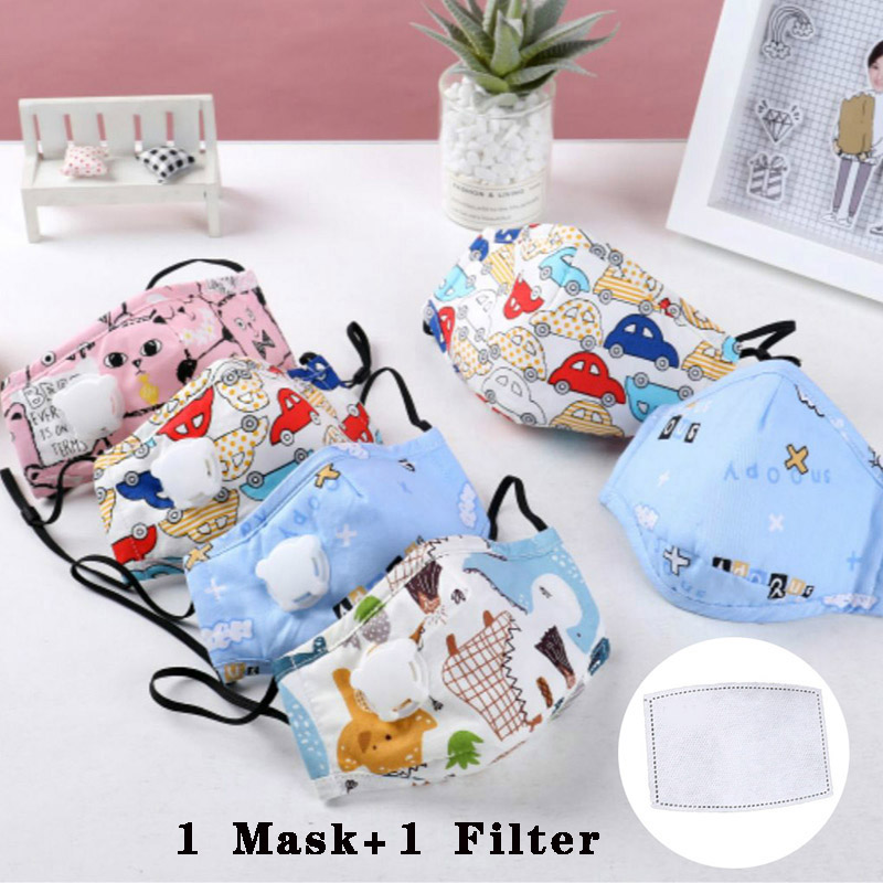 1Pcs Children Face Mask Kid Cotton Mouth Mask Anti-dust Children Masks Cartoon Respirator Mask With 1pcs Activated Carbon Filter