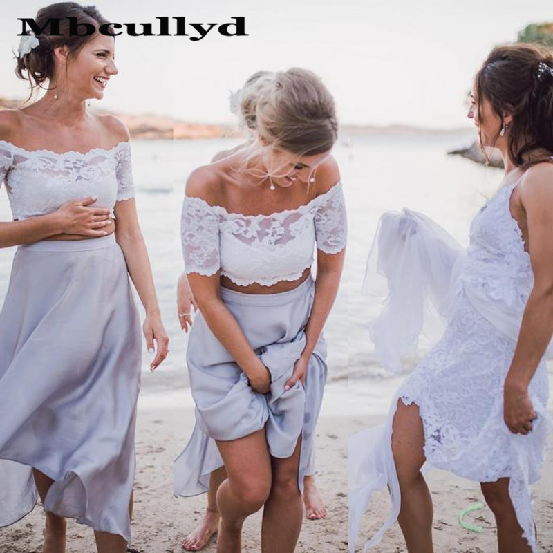 Mbcullyd Lilac Long Bridesmaid Dresses 2020 A Line Lace Top and Chiffon Skirt Wedding Guest Dress Two Pieces Vestido Madrinha