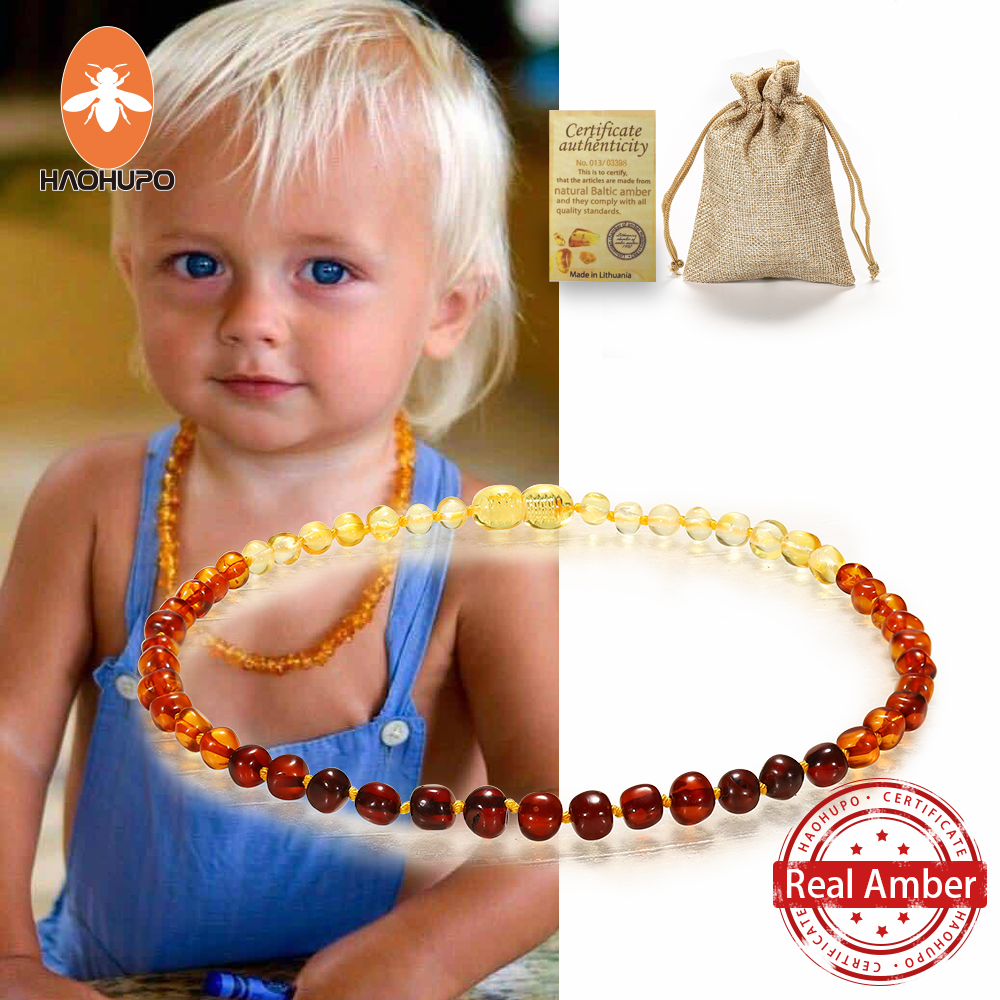 HAOHUPO Classic Natural Amber Necklace Certificate Authenticity Genuine Baltic Amber Stone Childre Necklace baby Gift 14 Color(China)