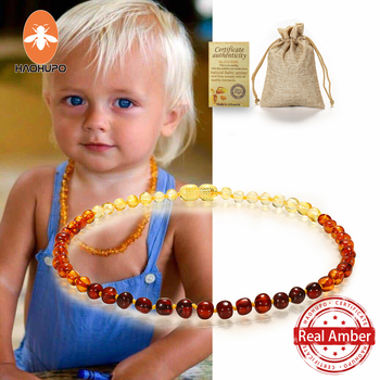 HAOHUPO Classic Natural Amber Necklace Certificate Authenticity Genuine Baltic Amber Stone Childre Necklace Baby Gift 14 Color