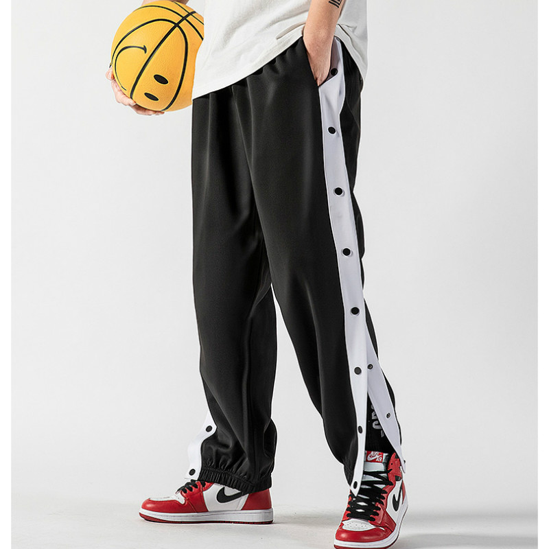 Men Basketball Pants Side Striped Button Easy To Wear Mens Casual Pant Loose Sweatpants