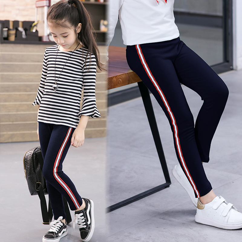 Girls Leggings For Autumn Winter Wear Kids Printing Flower Cotton Pants Sport Running  Elastic Pants 1-10Y Baby Girl Leggings