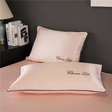 TWO Side 100% satin silk Pillowcases Envelope Pure Silk Embroidery Pillow Case Pillowcase for Healthy Sleep Multicolor 48x74cm