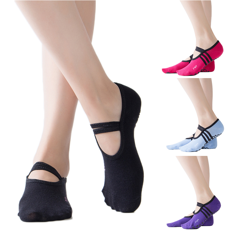1Pair Women Yoga Pilates Ballet Socks Dance Sock Cycling Socks Anti Slip Bandage Cotton Sports Yoga Socks #ED