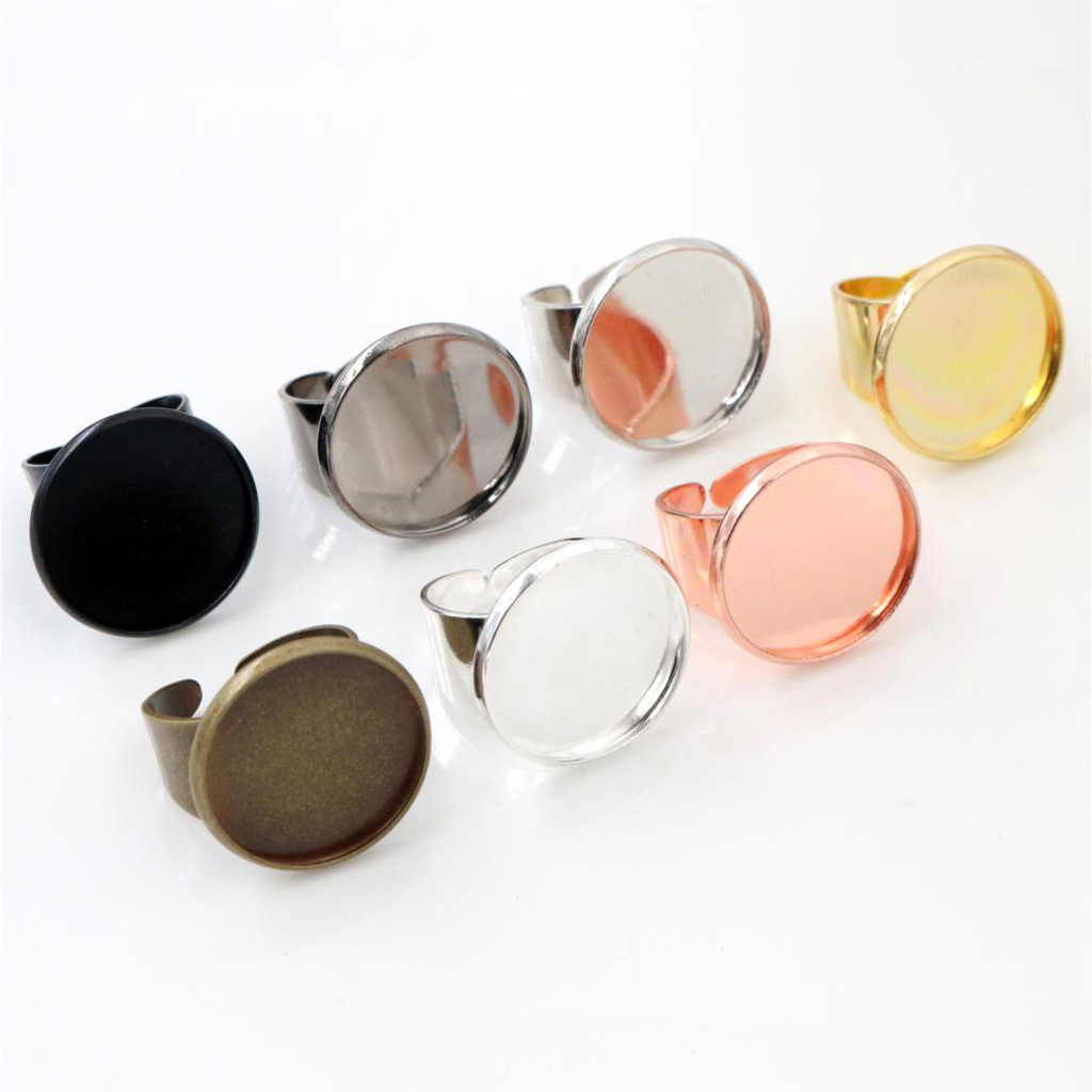 20mm 5pcs/Lot Classic 7 Colors Plated Brass Adjustable Ring Settings Blank/Base,Fit 20mm Glass Cabochons,Buttons;Ring Bezels