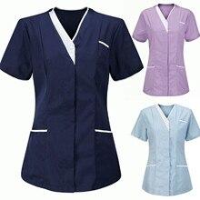 Blouse Tops Short-Sleeve Women Summer Nurse-Uniform V-Neck Hot-Sale Plus-Size Solid -G38