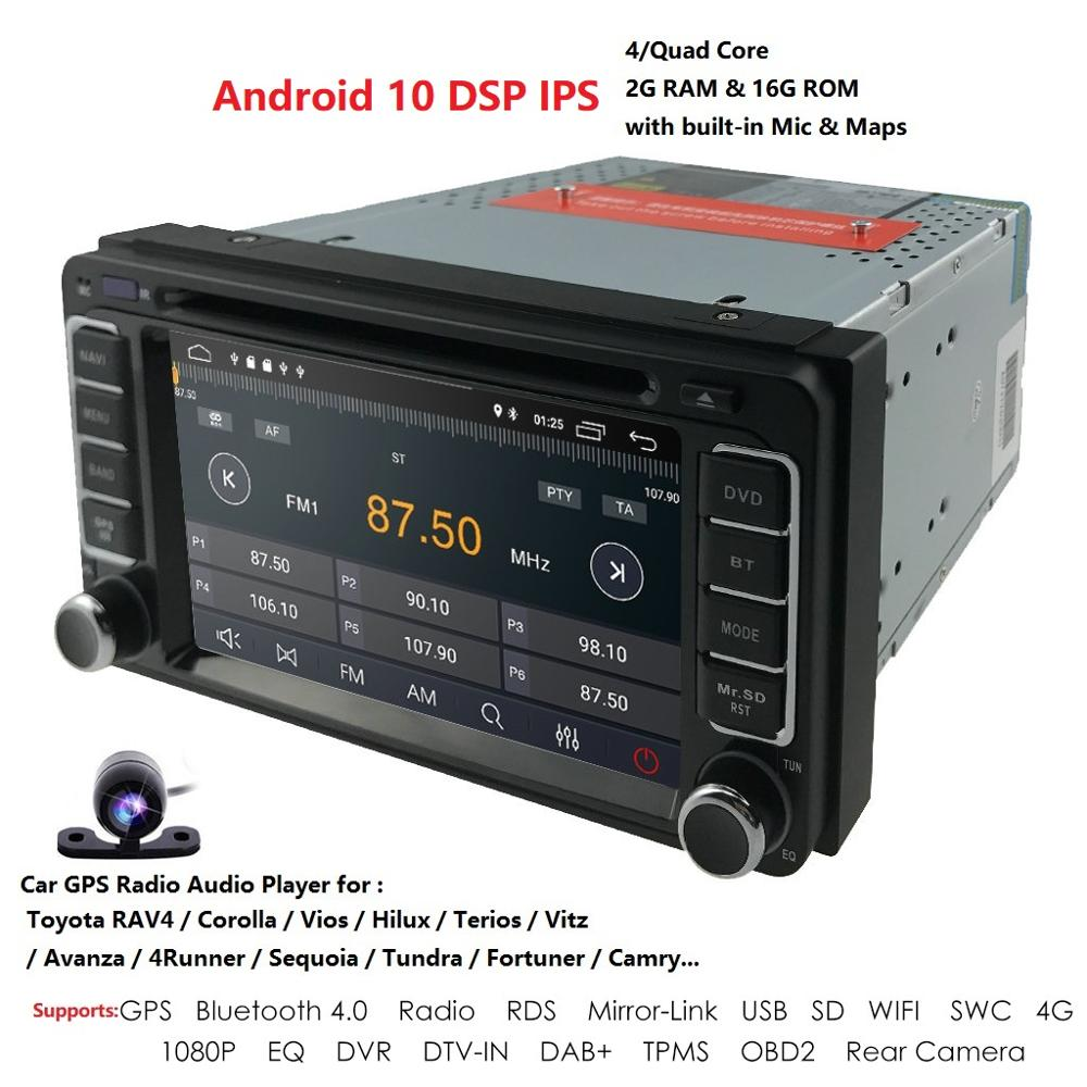 Android 10 DSP IPS Car GPS SAT NAV BT USB Stereo Radio Head Unit For <font><b>Toyota</b></font> Prado Hilux Camry Tundra <font><b>4Runner</b></font> Previa Highlander image
