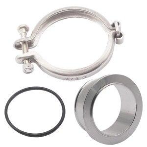 Image 3 - 1 conjunto turbo compressor v band flange + braçadeira para holset hx35 hx35w hx40w cummins 5.9l