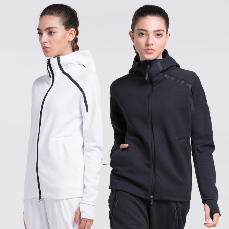 Autumn And Winter New Style Sports Clothing Running Fitness Jacket Women's Quick-Dry Zip Hooded Yoga Clothes Long-Sleeve