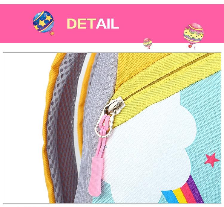 Nylon Fabric Panelled Preschool Backpack Baby Girls Mini Unicorn School Bags for Toddler Kids Cute Cartoon Casual Back Pack Blue (12)