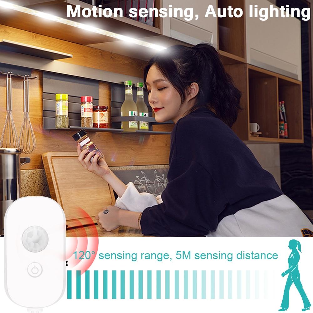 PIR Motion Sensor Led Light Strip 5V Waterproof Smart Closet Kitchen Lamp USB Cabinet Light Wireless Switch LED Lamp Strip 2835