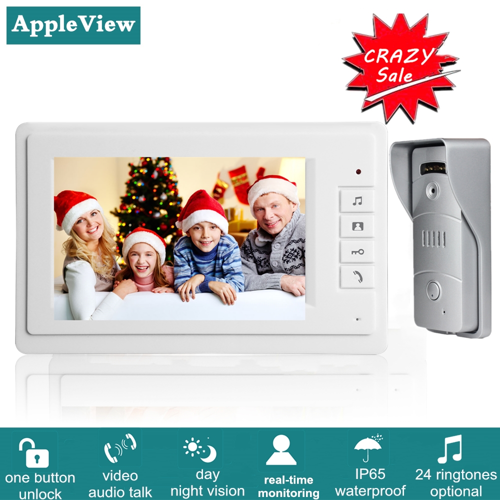Video Door Phone Doorbell Wired Video Intercom System 7-inch Color Monitor And 1200TVL HD Camera With Door Unlock Night Vision