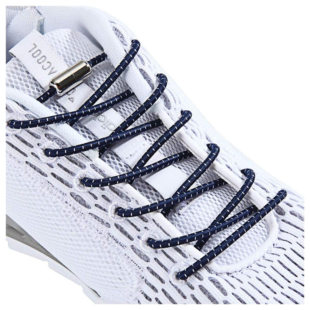 Reflective Elastic Shoelaces Round Metal Locking Quick No Tie Shoelace Party Night Run Leisure Sneakers Lazy Laces Unisex